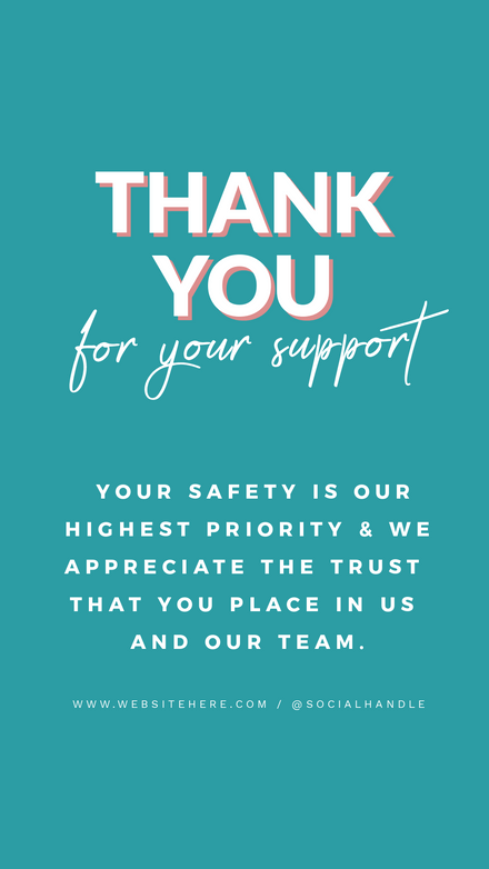 Thank you for Your Support Notice Template Teal