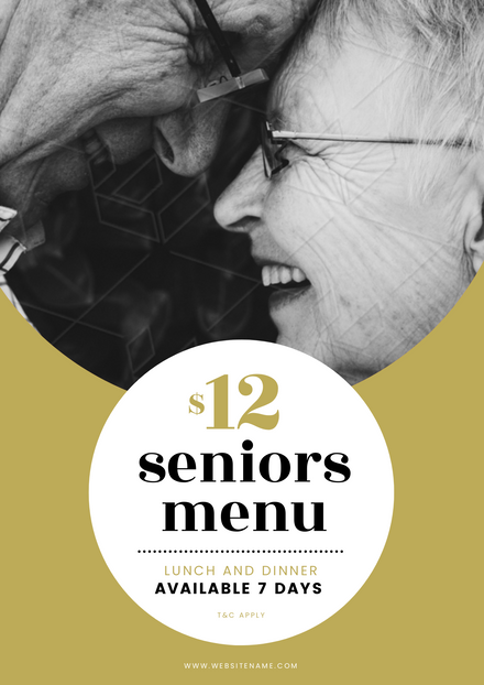 Senior's Menu with Circle elements and cute elderly couple image