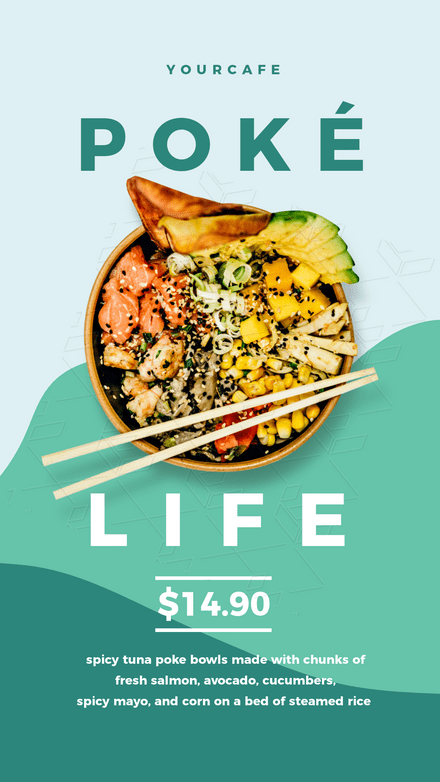 Poke Bowl Top View Promotion Template