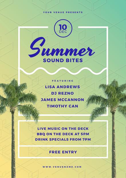 Summer Sound Bites Beach Party Graphic Template
