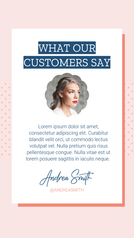 What our Customers Say - Testimonial Template with Scalloped Image Frame