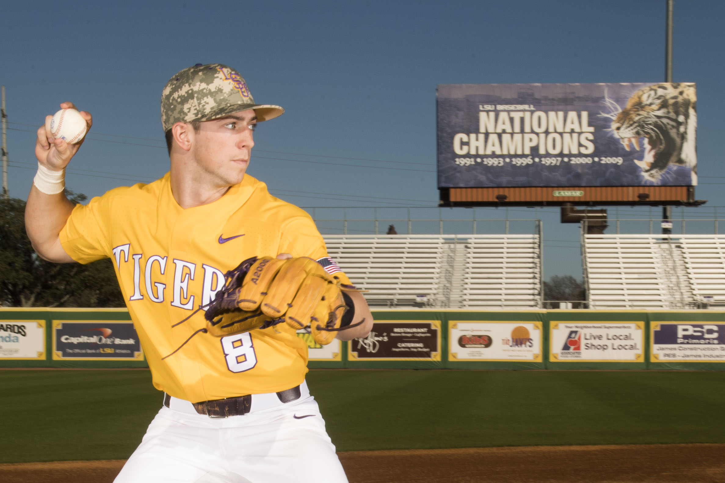 fa831ed42 The baseball camo hats with the interlock logo will be worn during LSU s  games against Air