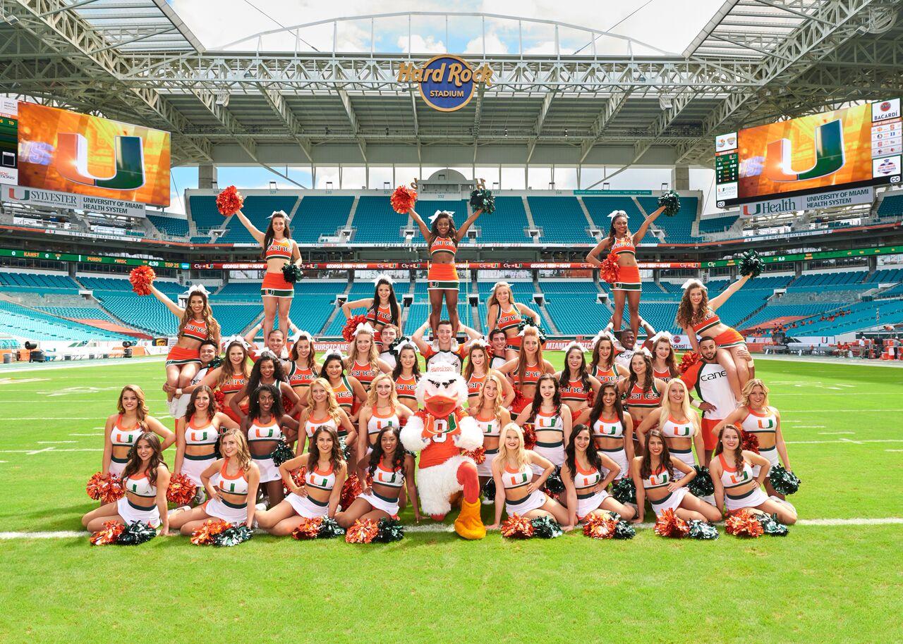 Cheerleaders & Sunsations Dance Team by Miami Hurricanes