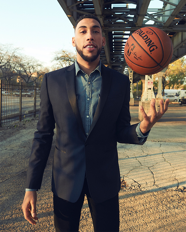 denzel-valentine-suit jacket-denim shirt-mens jeans
