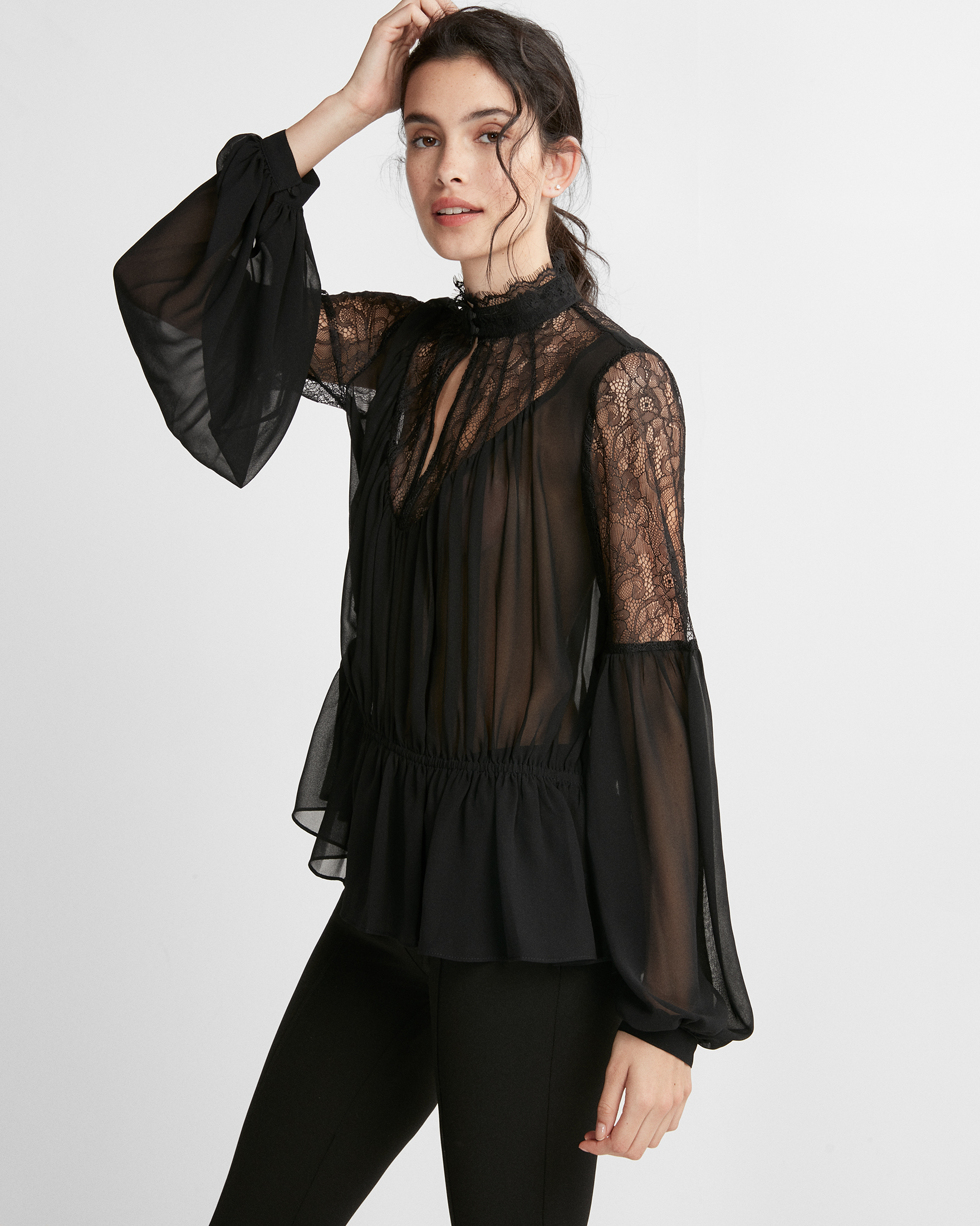 high-neck-pieced-lace-chiffon-blouse
