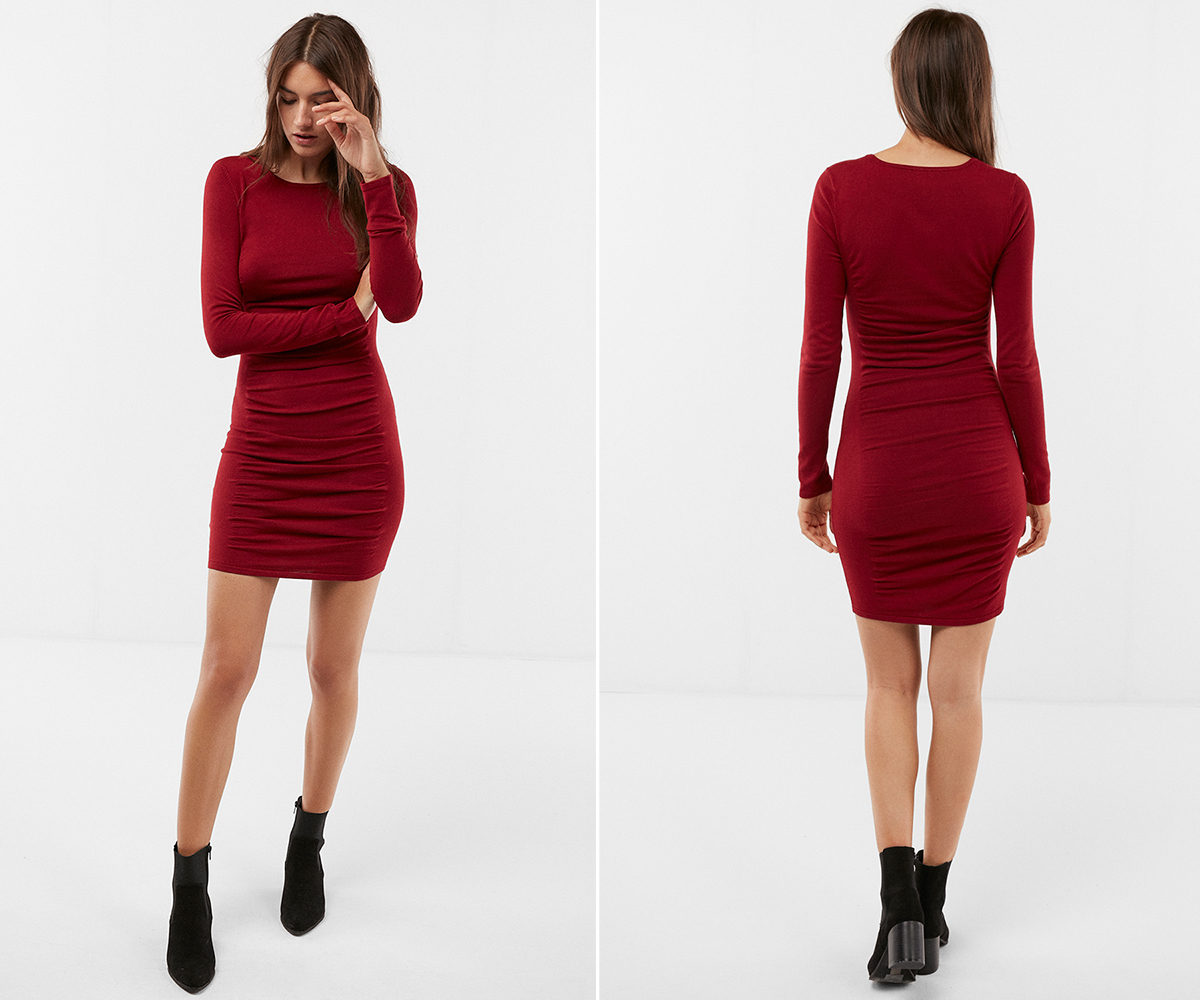 ruched-crew-neck-sweater-dress