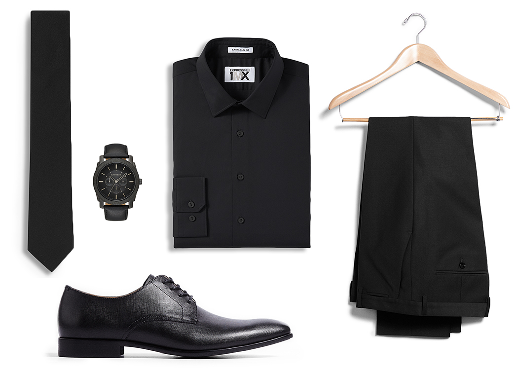 black-dress-shirt-black-tie-watch-black-dress-shoes-dress-pants