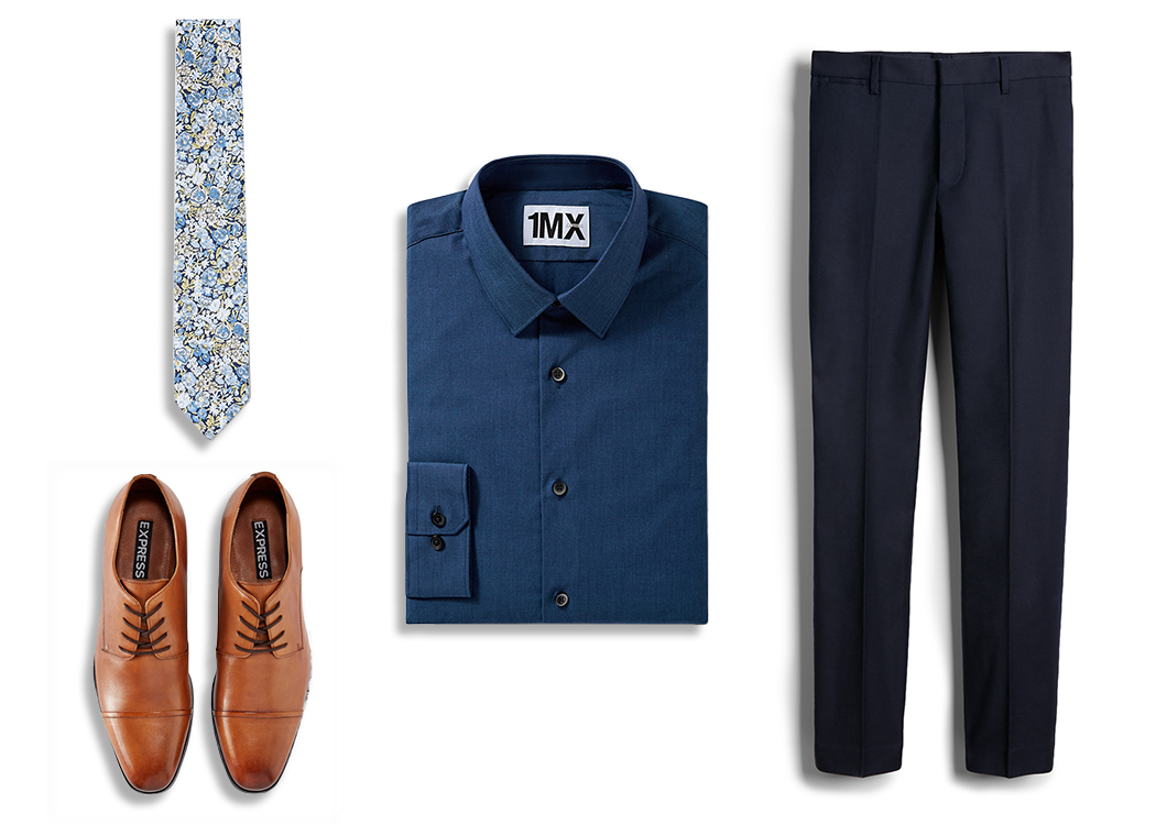 blue-dress-shirt-patterned-tie-brown-dress-shoes-dress-pants