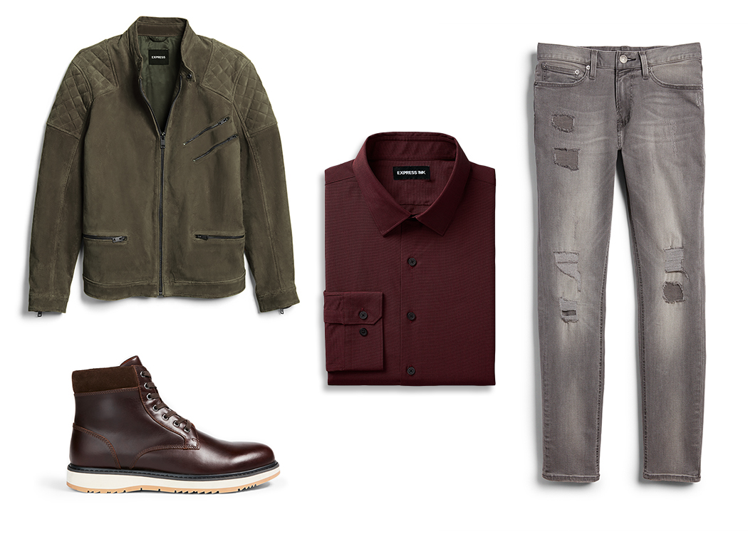 burgundy-dress-shirt-gray-jeans-green-jacket-brown-leather-boots