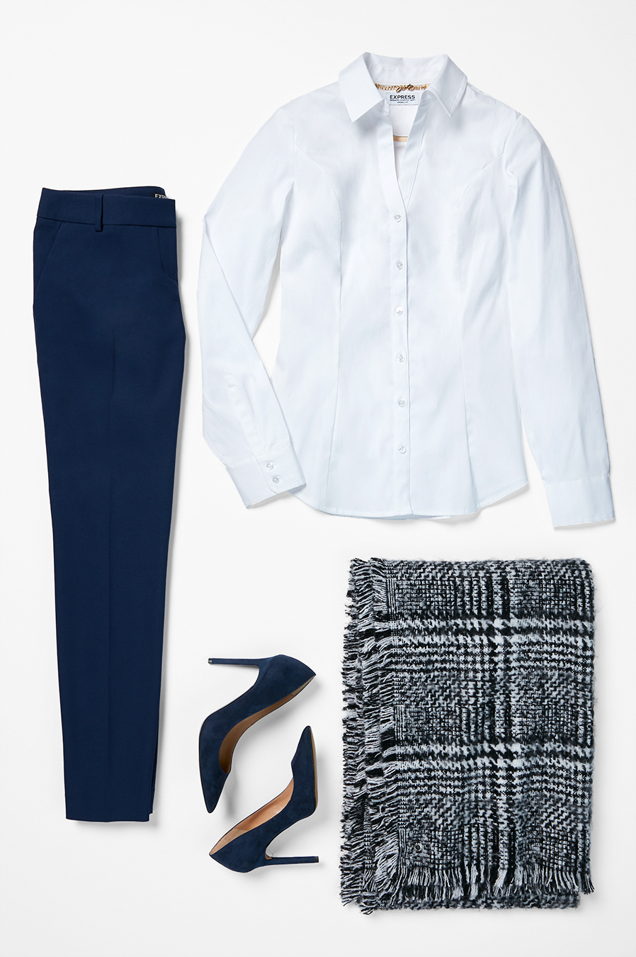 plaid-blanket-scarf-navy-dress-pants-white-essential-shirt-heels