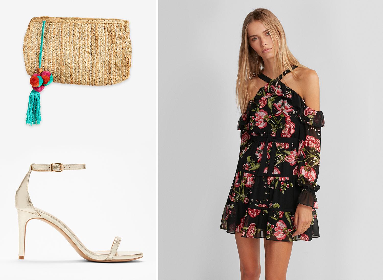 floral-cold-shoulder-fit-and-flare-dress-clutch-sandal-heels