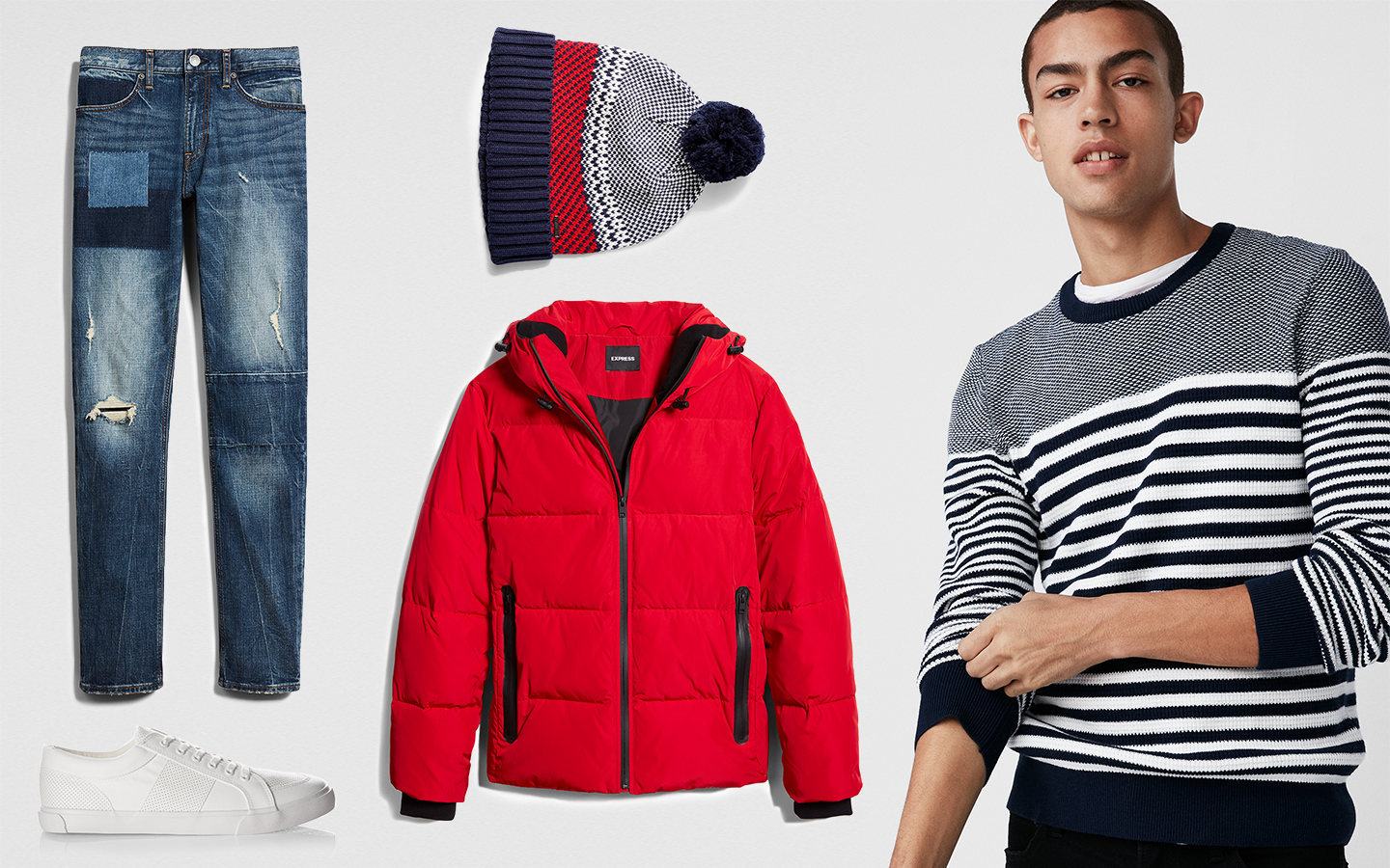 stripe-sleeve-crew-neck-cotton-sweater-destroyed-stretch-jeans-white-sneakers-beanie-red-puffer-jacket