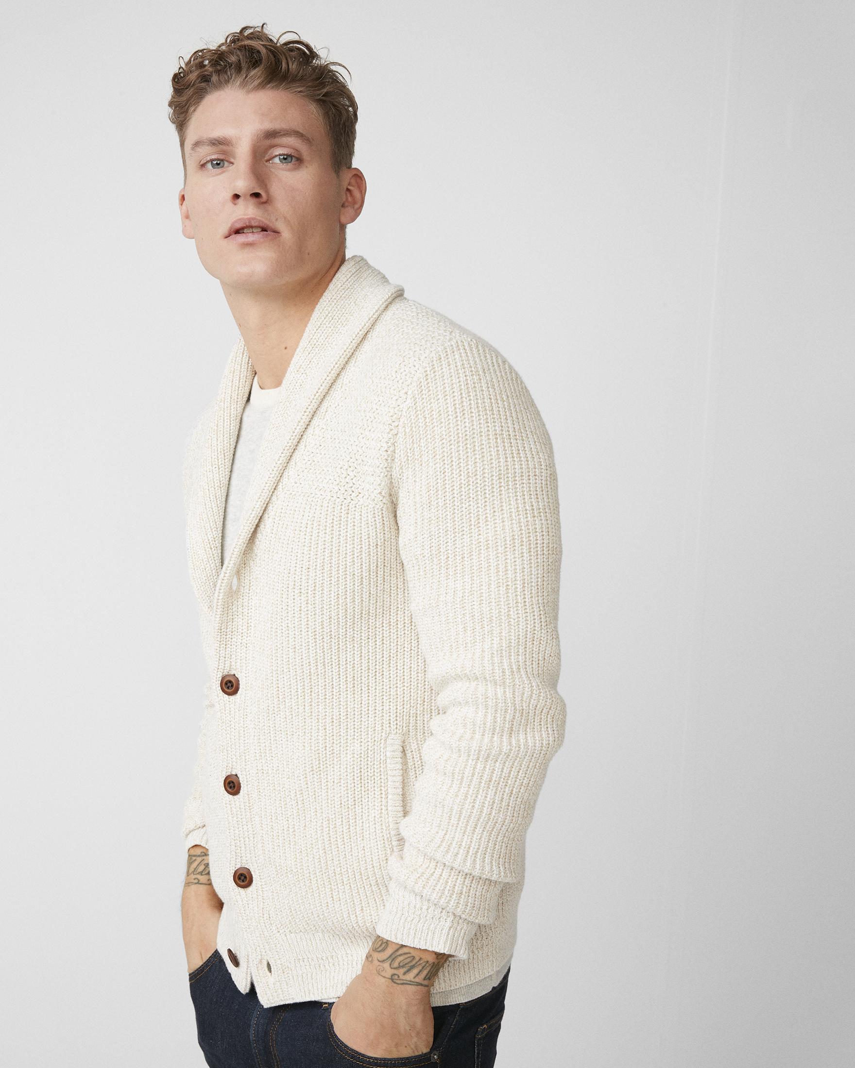 mix-knit-shawl-collar-cardigan