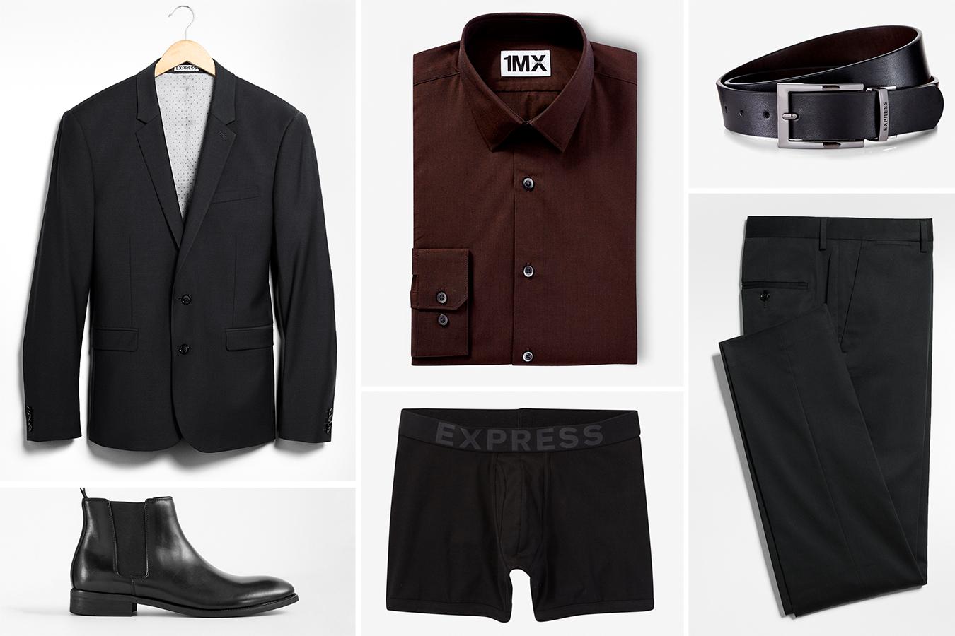 slim-black-wool-mens-suit-mens-boots-dress-shirt-leather-belt