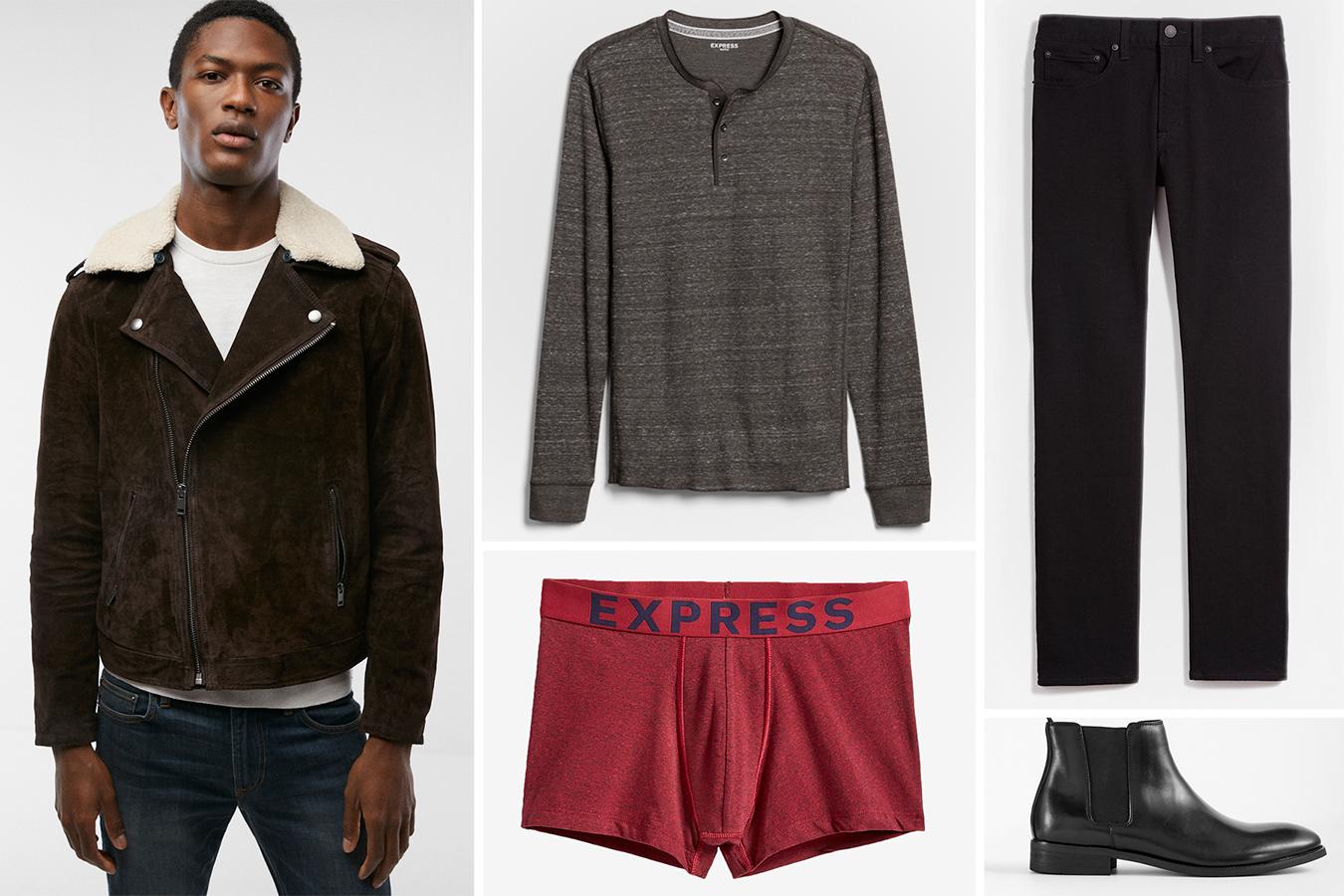 moto-jacket-henley-black-jeans-mens-boots-sport-trunks