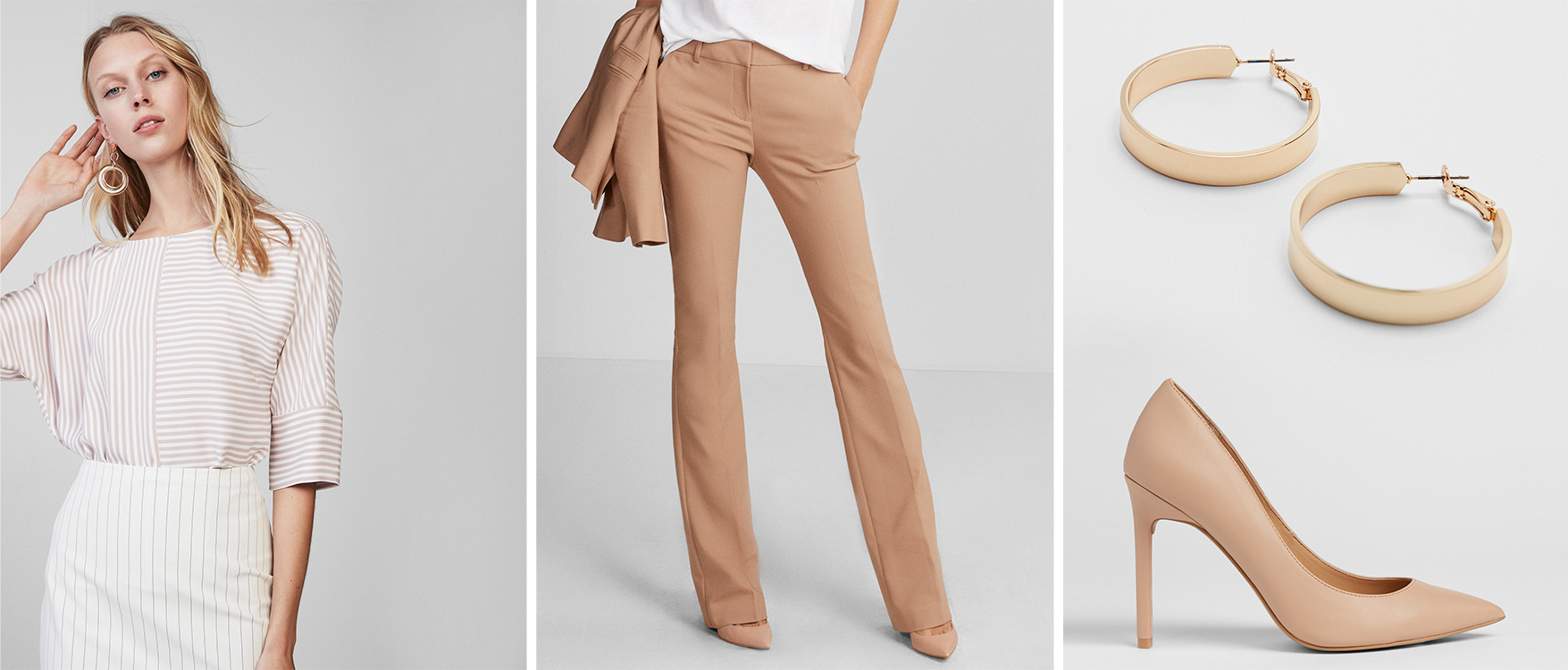 mid-rise-barely-boot-pant-striped-top-thin-high-heels-earrings