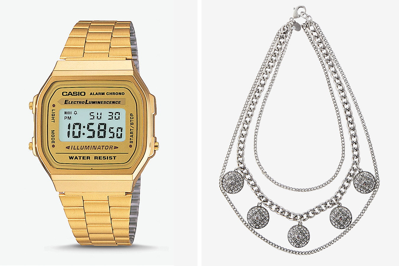 mens-vintage-casio-gold-digital-watch-womens-pave-station-layered-chain-statement-necklace