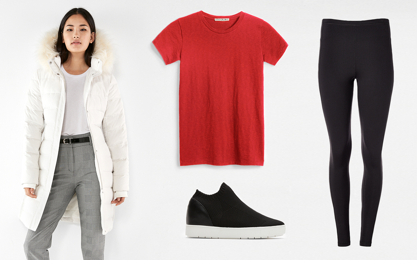 express-one-eleven-crew-neck-tee-white-puffer-leggings-Steve-Madden-sneakers
