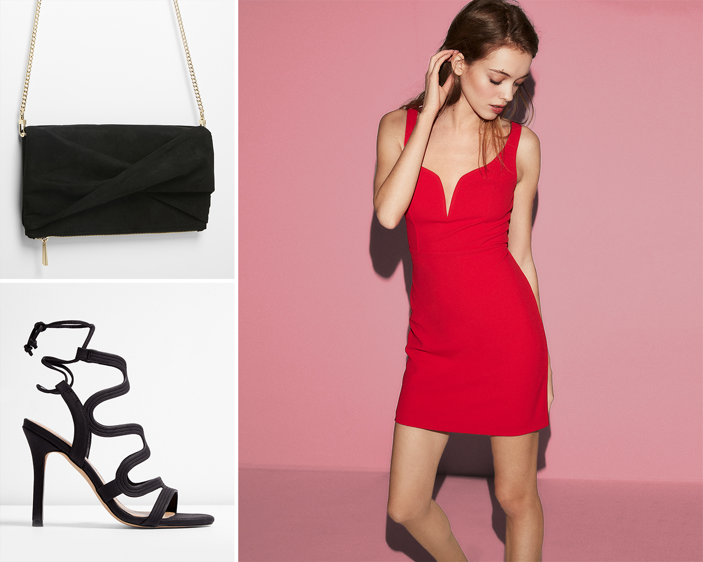 sheath-dress-heeled-sandals-clutch