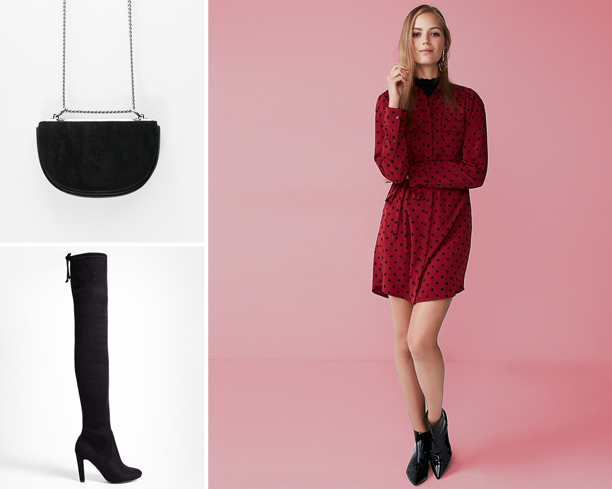 dotted-shirt-dress-over-the-knee-boots-cross-body-bag