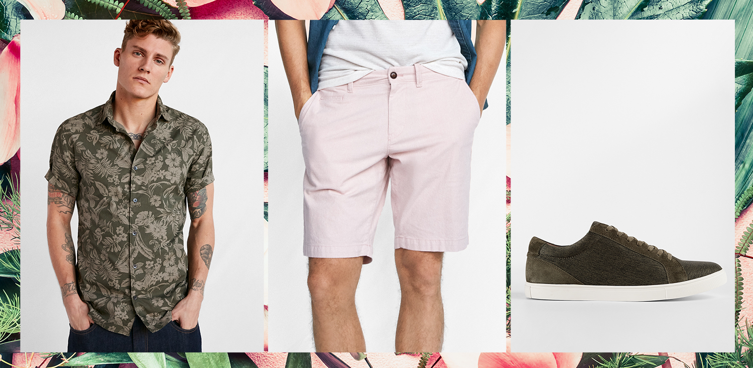 mens-tropical-short-sleeve-shirt-pink-shorts-olive-green-sneakers