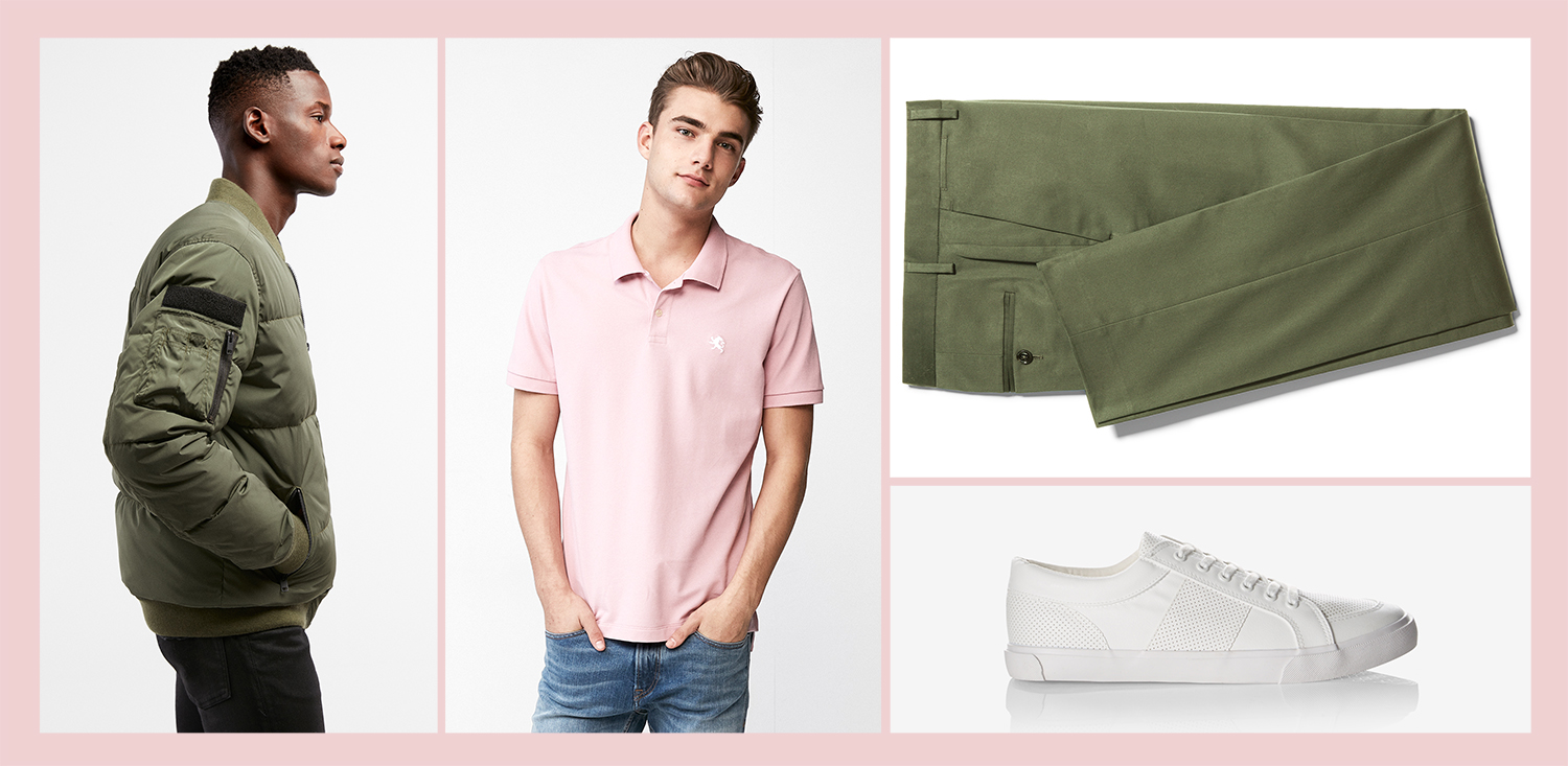 mens-olive-green-puffer-pink-polo-green-dress-pants-white-sneakers