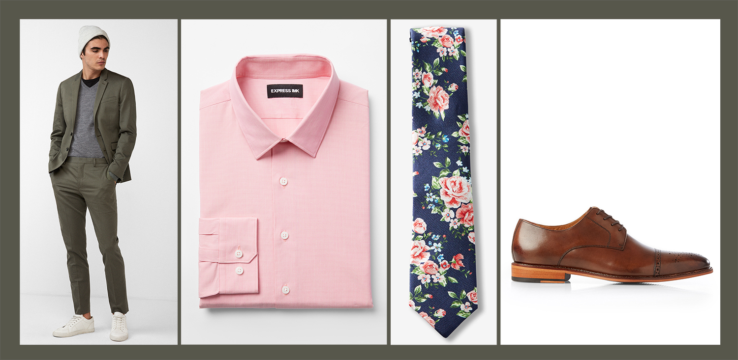 mens-green-suit-pink-dress-shirt-floral-tie-brown-dress-shoes