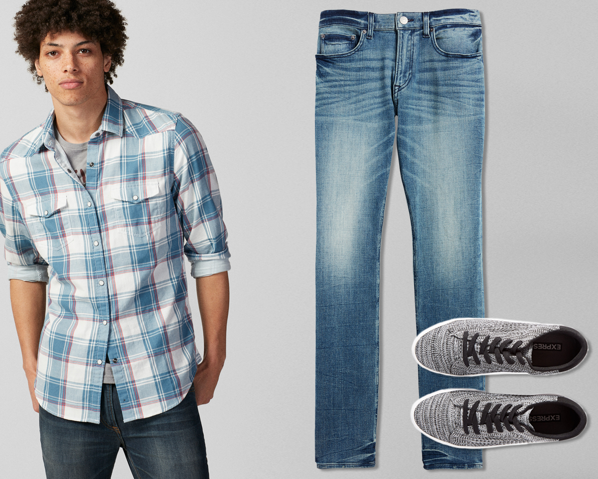 mens-plaid-western-shirt-4-way-strech-jeans-marled-knit-sneakers