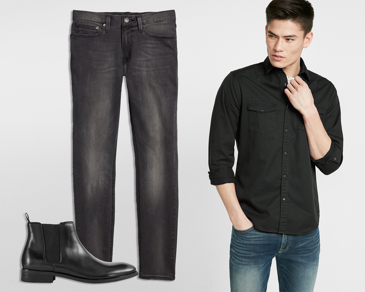 mens-twill-western-shirt-black-tough-stretch-jeans-leather-chelsea-boots