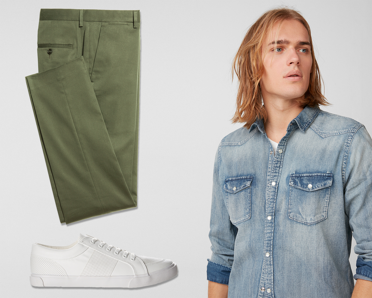 mens-washed-western-denim-shirt-stretch-olive-chinos-perforated-low-top-sneakers