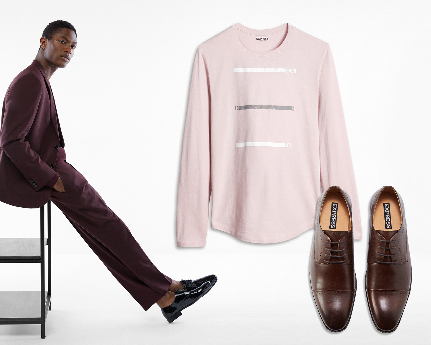 mens-burgandy-suit-long-sleeve-graphic-tee-dress-shoes