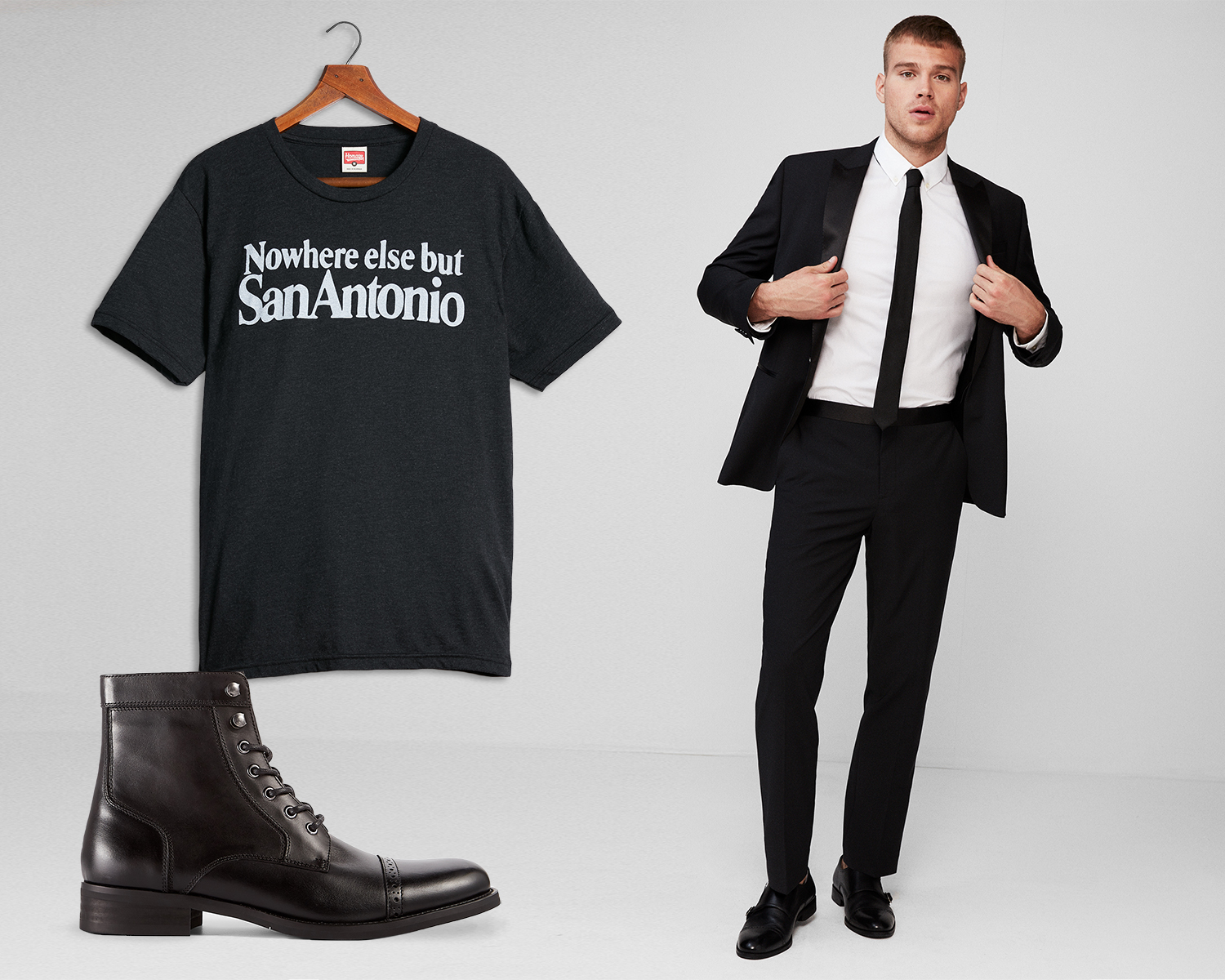 mens-performance-stretch-suit-homage-graphic-tee-lace-up-boots