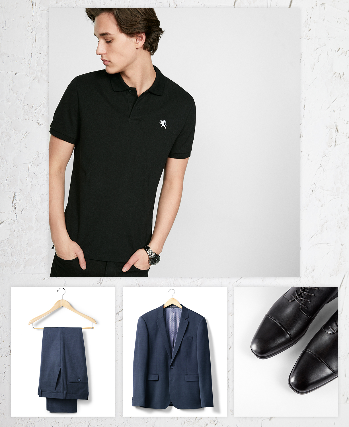 black-small-lion-polo-navy-suit-black-dress-shoes