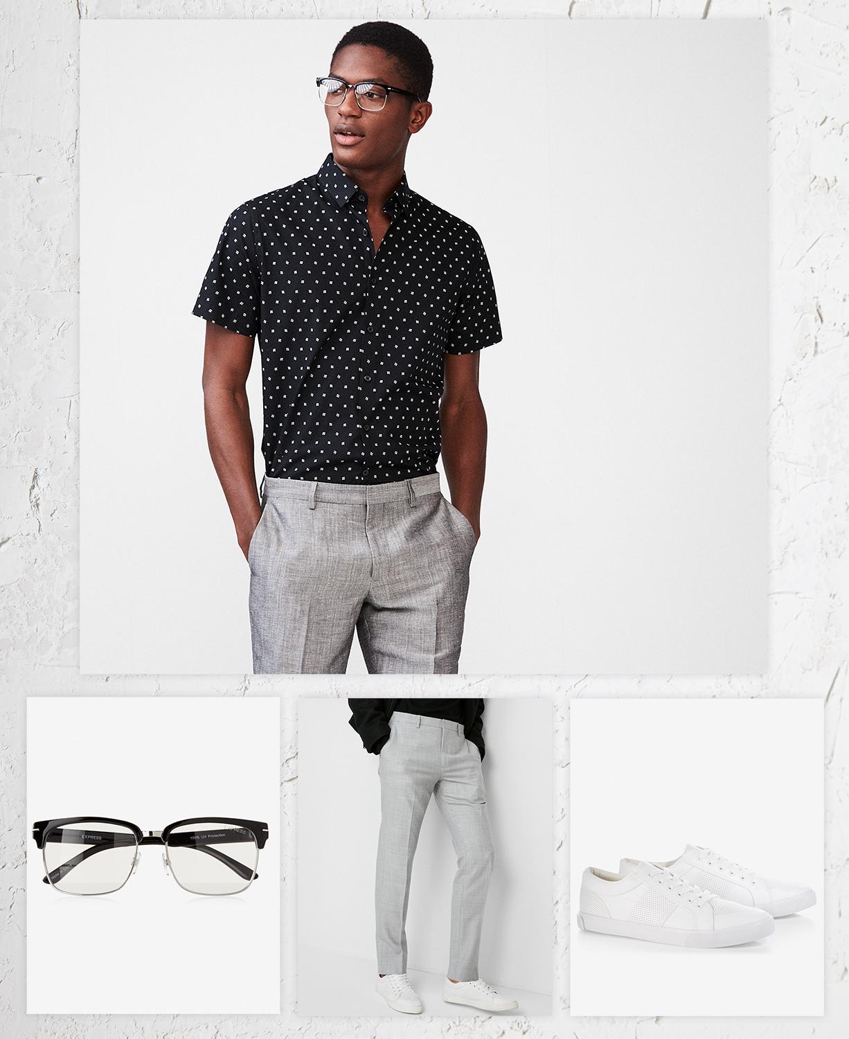 mens-patterned-dress-shirt-glasses-gray-dress-pants-white-sneakers
