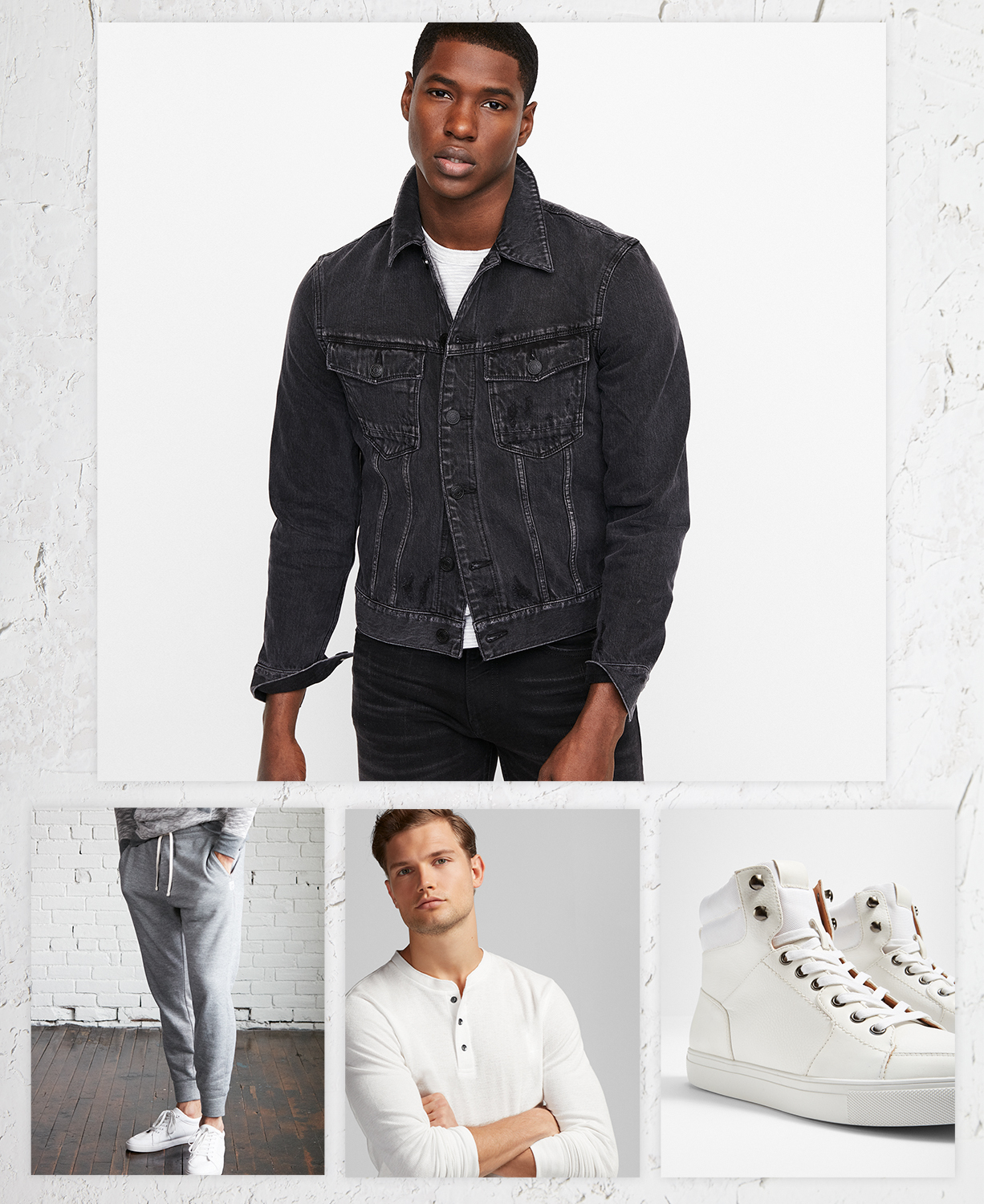 mens-black-denim-jacket-joggers-white-henley-white-high-top-sneakers
