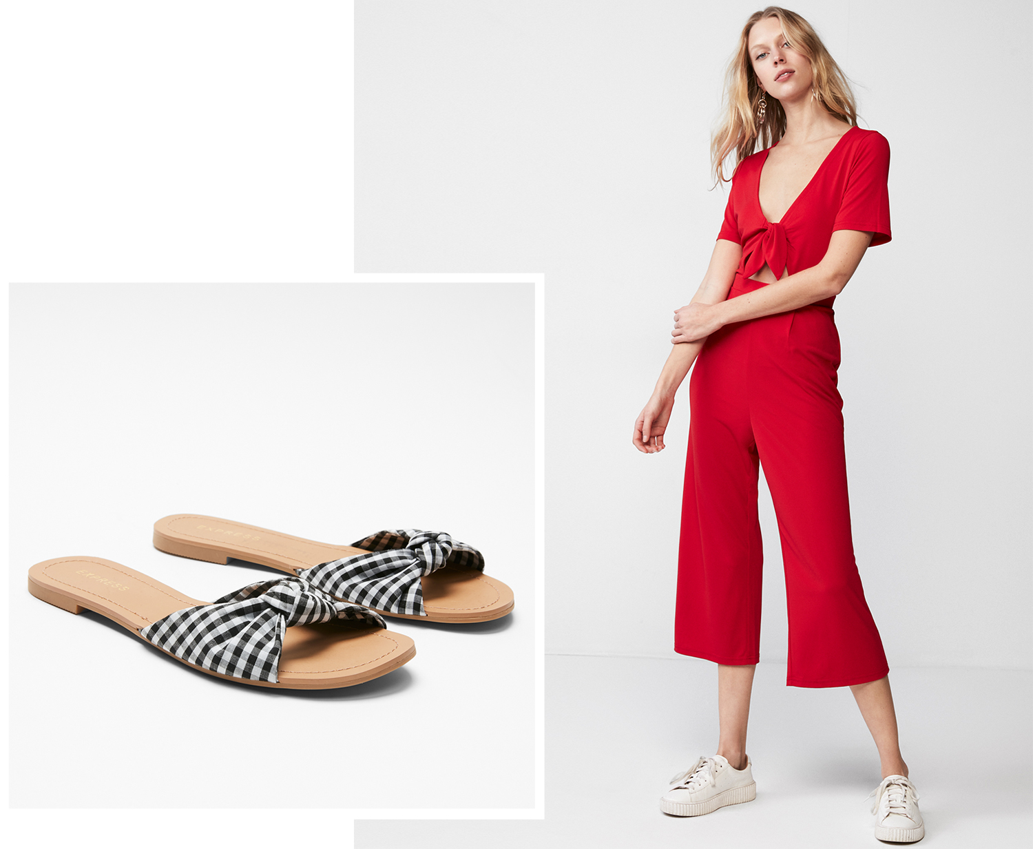 7238c3ad6b14b For an Afternoon Wine Tasting  The Gingham Slide + A Bold-Color Jumpsuit