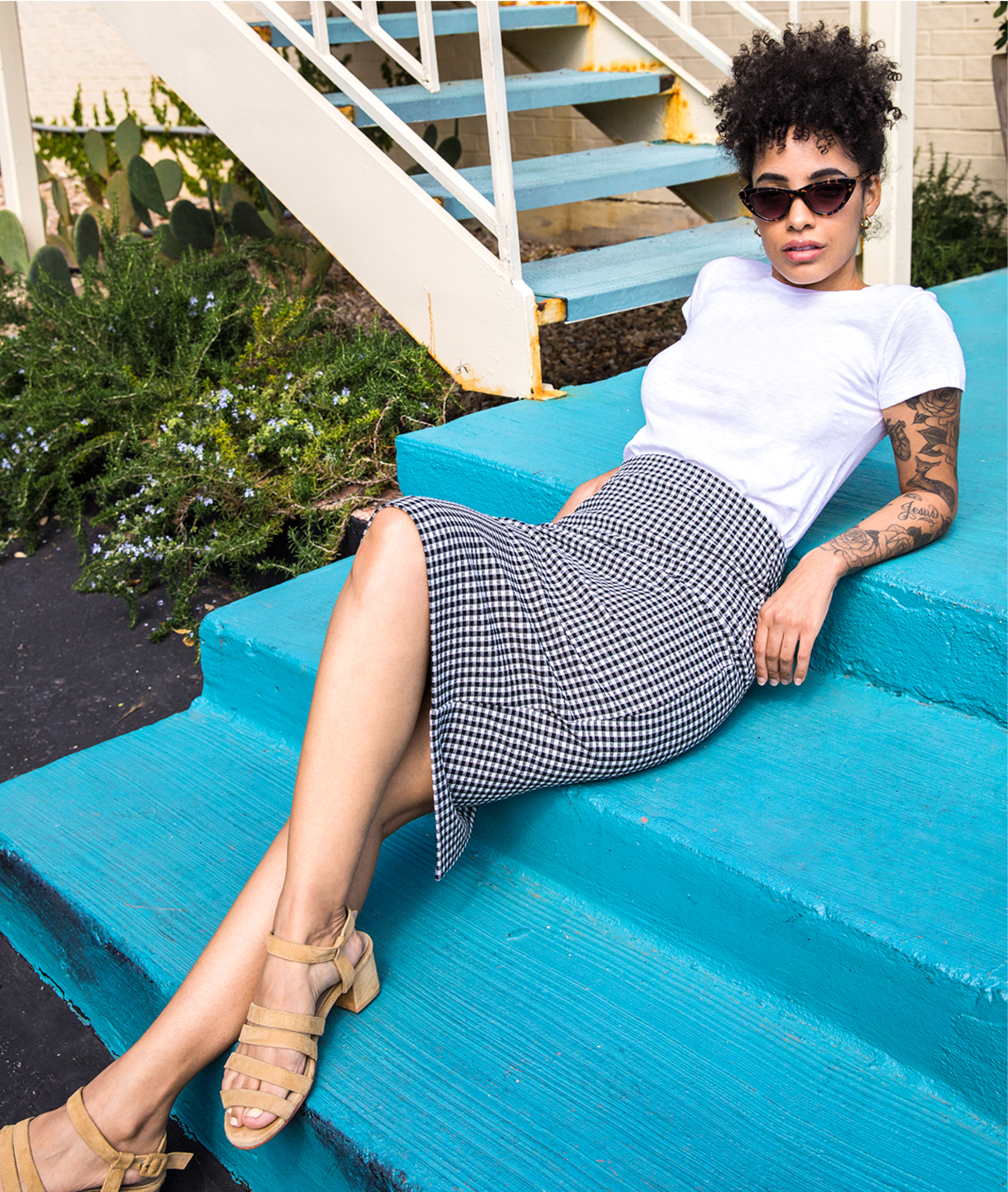 nikisha-riley-white-tee-gingham-skirt