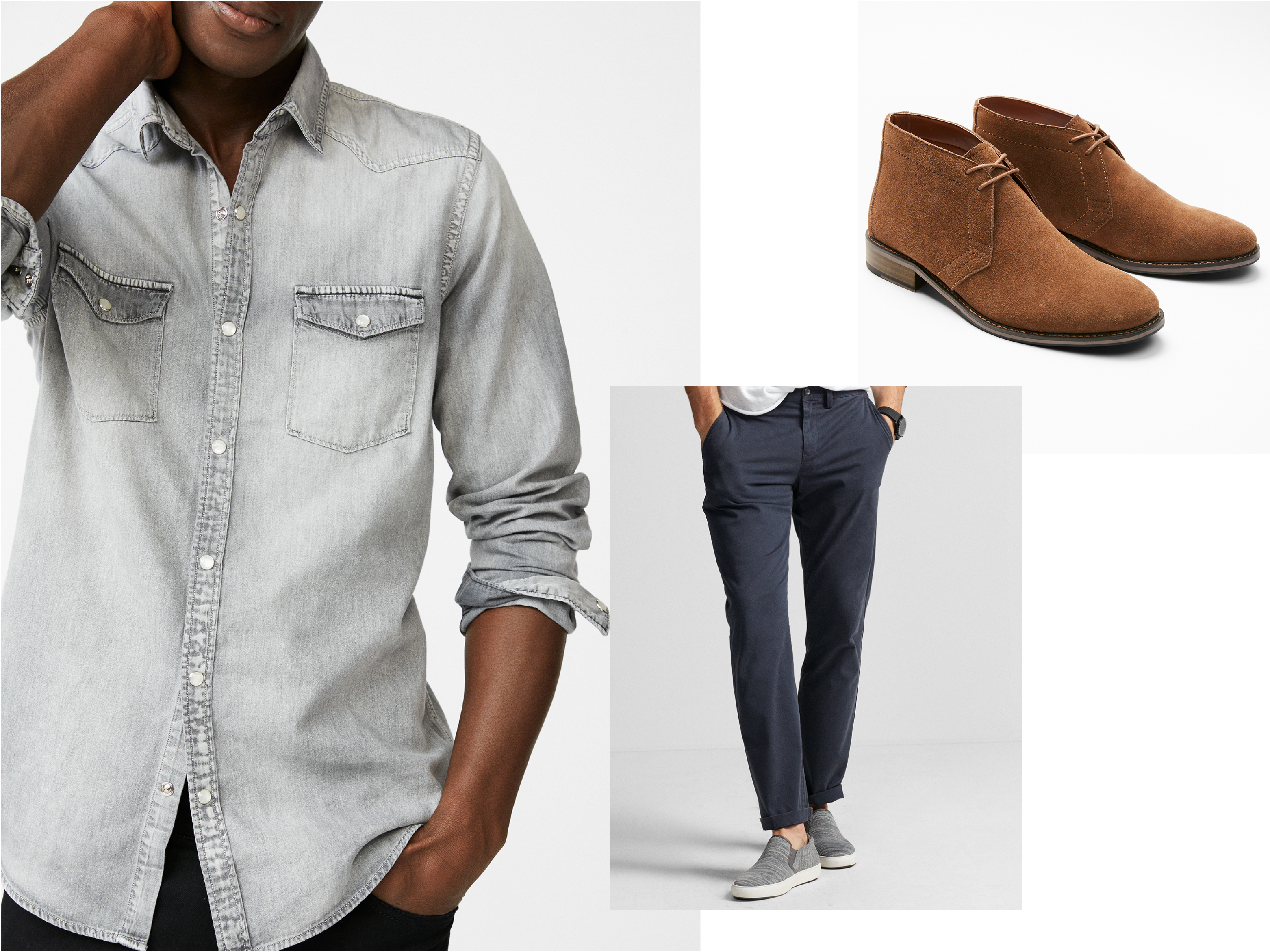 gray-denim-button-up-chinos-suede-boots