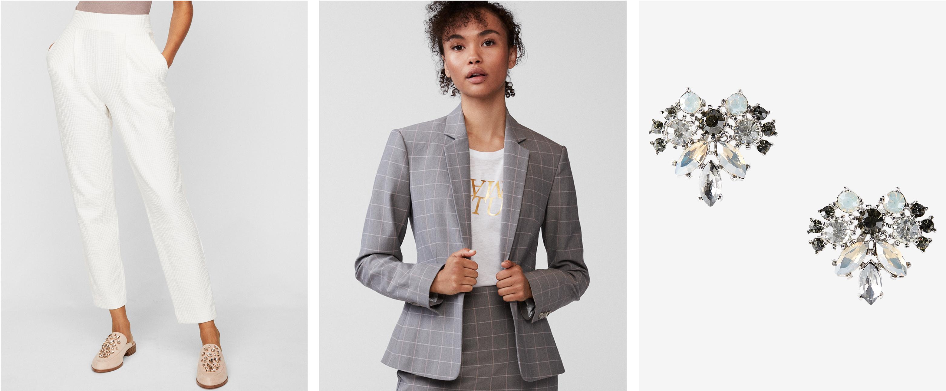 womens-ankle-pants-windowpane-blazer-embellished-earrings