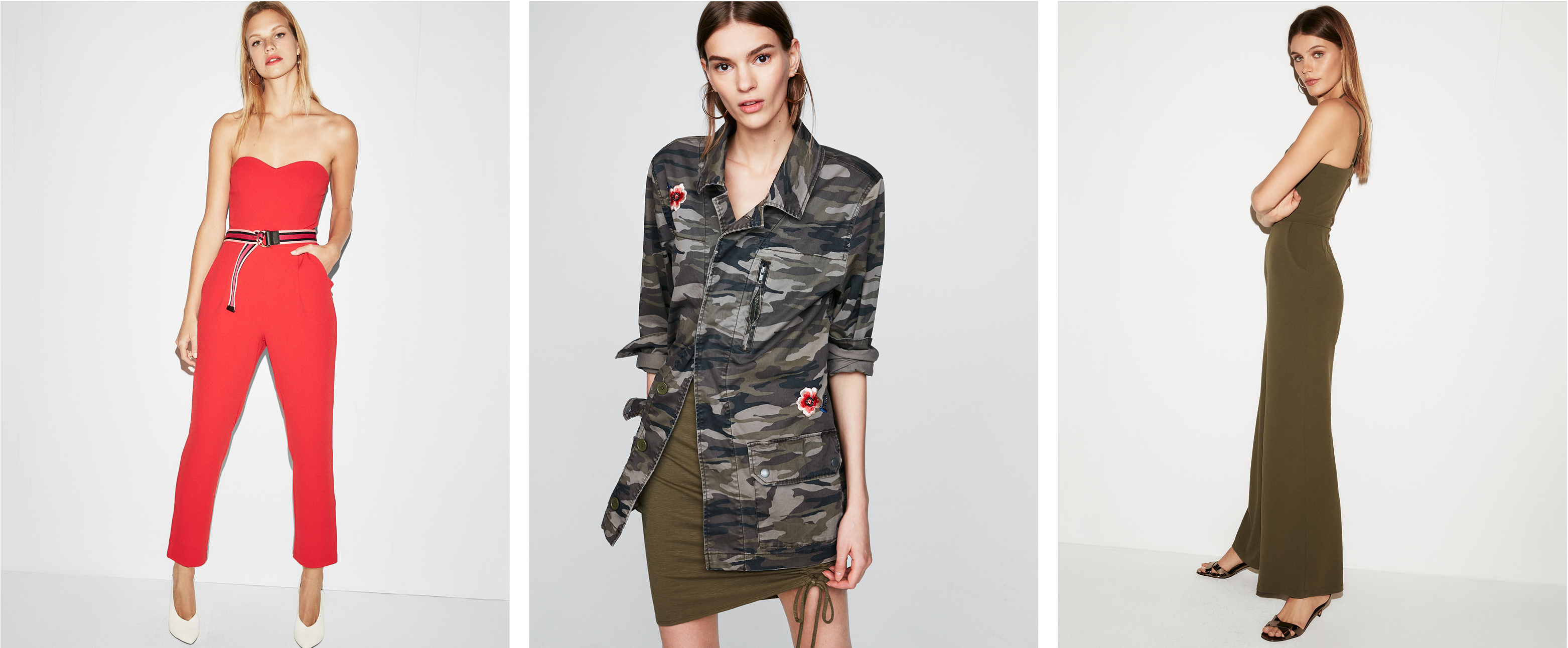 sweetheart-jumpsuit-camo-embroidered-jacket-ruched-cut-out-jumpsuit