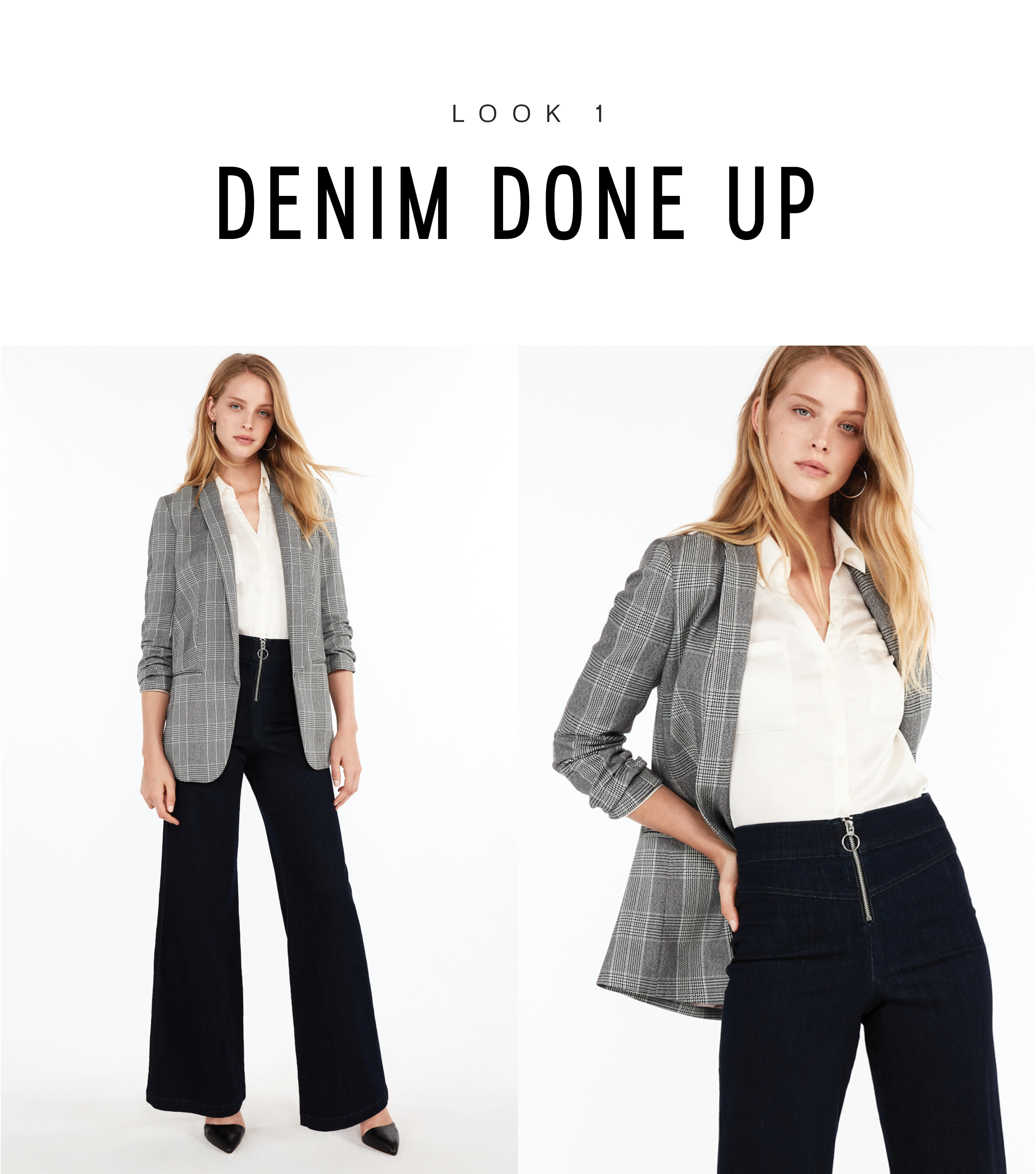 56fe3112ed Give your favorite flares a smarter look by tucking in an ivory Portofino  shirt with an oversize plaid blazer over top. Whether worn to work or for a  meal ...