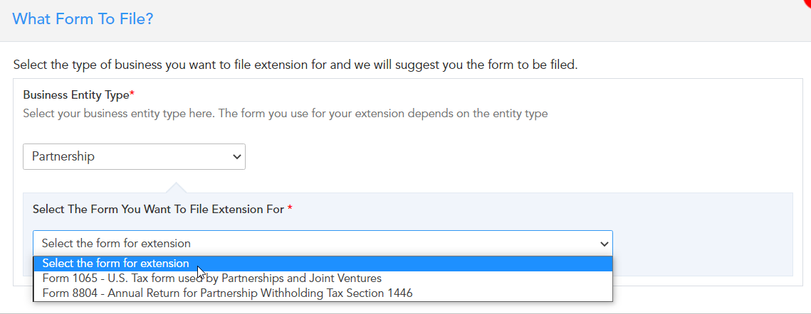 Which form to choose for extension