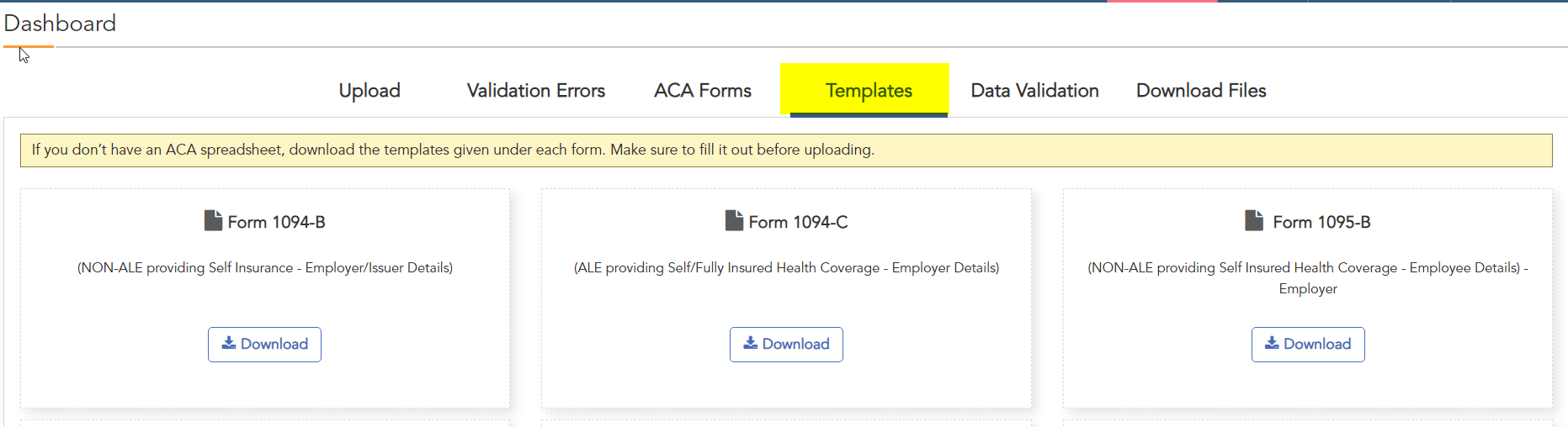 ACAwise template with ACA codes