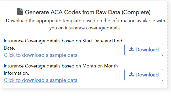 ACAwise template to generate ACA codes