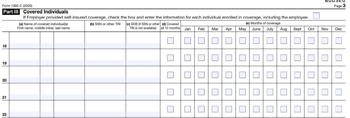 Form 1095-C Part-III