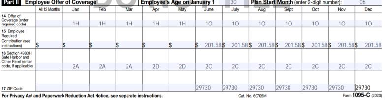 ACA form 1095-C with codes