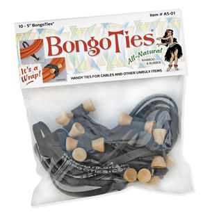 """Bongo Ties - 5"""" black ties (10 ct)"""