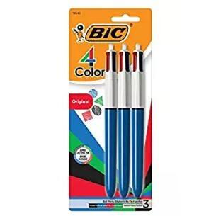 BIC 4-Color Retractable Ballpoint Pens - medium/blue barrel 3pk