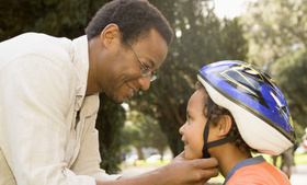 Child father helmet article