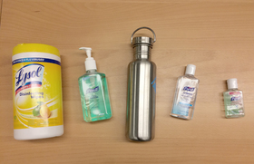 Hand sanitizer water bottle clorox wipes article